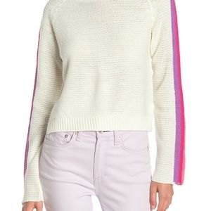 Striped Sleeve Crop Sweater